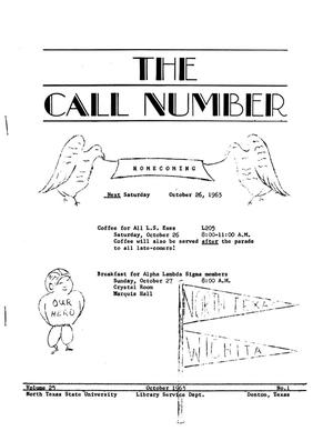 Primary view of object titled 'The Call Number, Volume 25, Number 1, October 1963'.