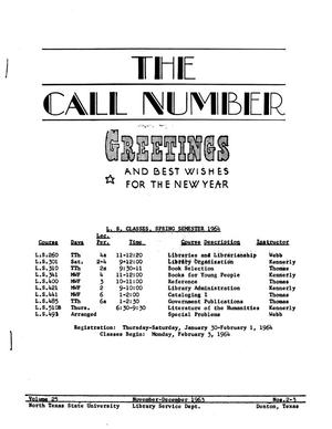Primary view of object titled 'The Call Number, Volume 25, Numbers 2-3, November-December 1963'.