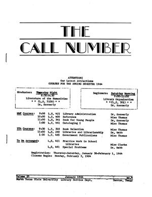 Primary view of object titled 'The Call Number, Volume 25, Number 4, January 1964'.
