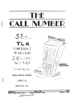 Primary view of object titled 'The Call Number, Volume 25, Number 6, March 1964'.