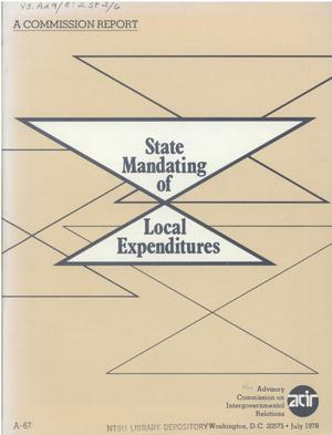 Primary view of object titled 'State mandating of local expenditures'.