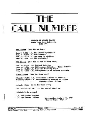 Primary view of object titled 'The Call Number, Volume 25, Numbers 9-10, Summer 1964'.