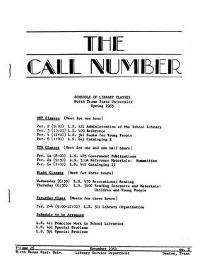 Primary view of object titled 'The Call Number, Volume 26, Number 2, November 1964'.