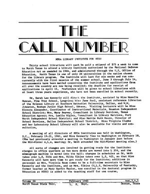 Primary view of object titled 'The Call Number, Volume 26, Numbers 3-5, February 1965'.