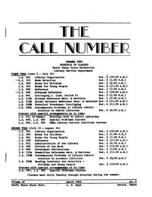 Primary view of object titled 'The Call Number, Volume 26, Number 6, March 1965'.