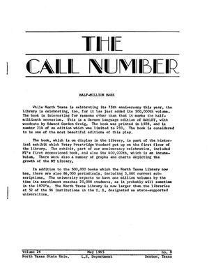 Primary view of object titled 'The Call Number, Volume 26, Number 8, May 1965'.