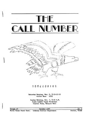 Primary view of object titled 'The Call Number, Volume 27, Number 1, October 1965'.