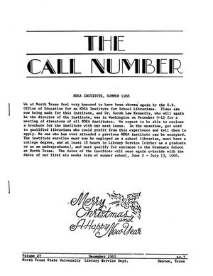 Primary view of object titled 'The Call Number, Volume 27, Number 3, December 1965'.