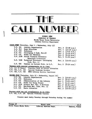 Primary view of object titled 'The Call Number, Volume 27, Number 6, February 1966'.