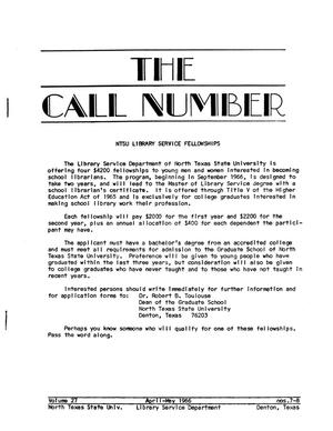 Primary view of object titled 'The Call Number, Volume 27, Number 7-8, April-May 1966'.