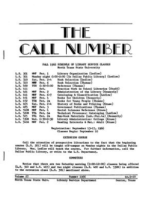 Primary view of object titled 'The Call Number, Volume 27, Number 9-10, Summer 1966'.