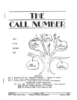 Primary view of object titled 'The Call Number, Volume 28, Number 1, October 1966'.