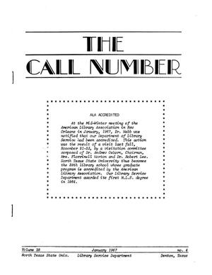 Primary view of object titled 'The Call Number, Volume 28, Number 4, January 1967'.