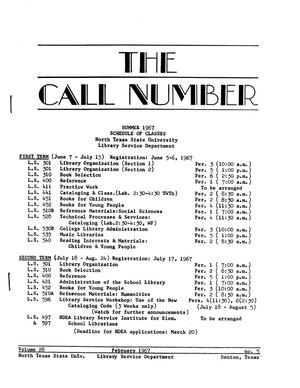 Primary view of object titled 'The Call Number, Volume 28, Number 5, February 1967'.