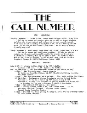 Primary view of object titled 'The Call Number, Volume 32, Number 1, Fall 1970'.