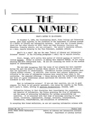 The Call Number, Volume 32, Number 2, Winter 1971