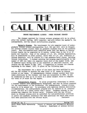 Primary view of object titled 'The Call Number, Volume 32, Number 3, Spring 1971'.