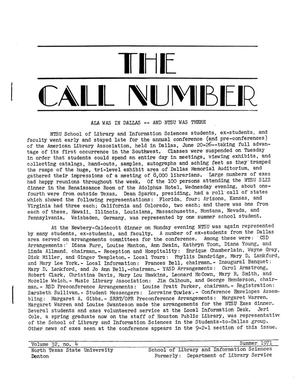 Primary view of The Call Number, Volume 32, Number 4, Summer 1971