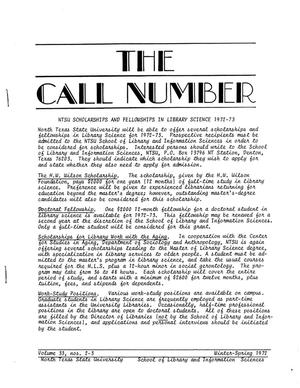 Primary view of object titled 'The Call Number, Volume 33, Numbers 2-3, Winter-Spring 1972'.