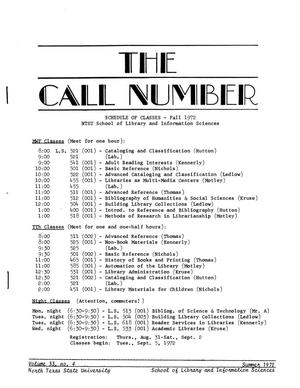 Primary view of object titled 'The Call Number, Volume 33, Number 4, Summer 1972'.