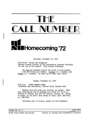 Primary view of object titled 'The Call Number, Volume 34, Number 1, Fall 1972'.