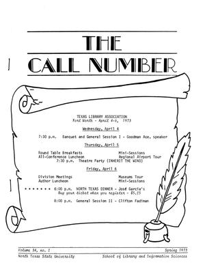 Primary view of object titled 'The Call Number, Volume 34, Number 2, Spring 1973'.