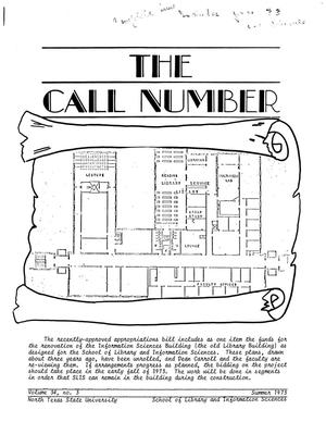 Primary view of object titled 'The Call Number, Volume 34, Number 3, Summer 1973'.