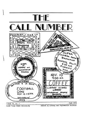 Primary view of object titled 'The Call Number, Volume 35, Number 1, Fall 1973'.