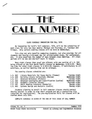 Primary view of object titled 'The Call Number, Volume 35, Number 3, Summer 1974'.