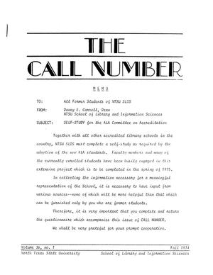 Primary view of object titled 'The Call Number, Volume 36, Number 1, Fall 1974'.