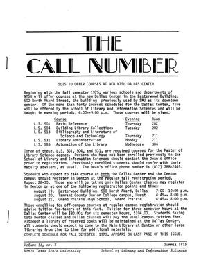 Primary view of object titled 'The Call Number, Volume 36, Number 3, Summer 1975'.