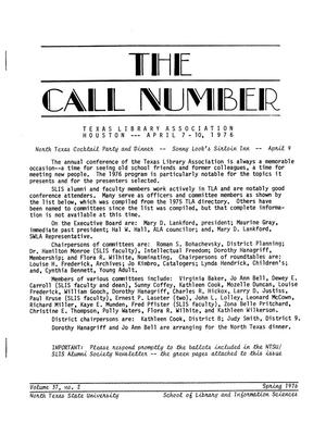 Primary view of object titled 'The Call Number, Volume 37, Number 2, Spring 1976'.