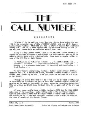 Primary view of object titled 'The Call Number, Volume 37, Number 3, Summer 1976'.