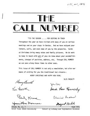 Primary view of object titled 'The Call Number, Volume 38, Number 1, Fall 1976'.