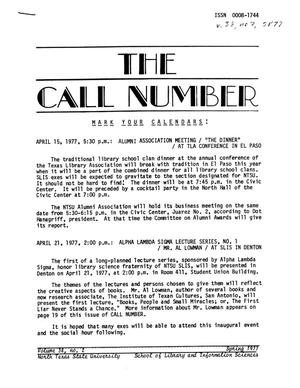Primary view of object titled 'The Call Number, Volume 38, Number 2, Spring 1977'.