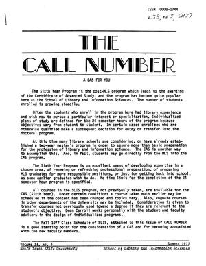 Primary view of object titled 'The Call Number, Volume 38, Number 3, Summer 1977'.