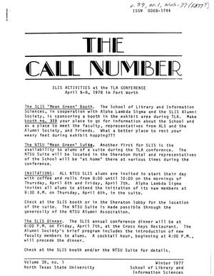 Primary view of object titled 'The Call Number, Volume 39, Number 1, Winter 1977'.