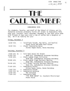 Primary view of object titled 'The Call Number, Volume 40, Number 1, Fall 1978'.