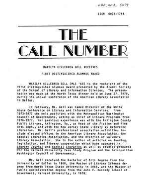 Primary view of object titled 'The Call Number, Volume 40, Number 3, Summer 1979'.