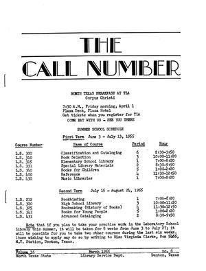 Primary view of object titled 'The Call Number, Volume 16, Number 6, March 1955'.