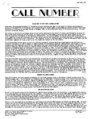 Primary view of object titled 'Call Number, Volume 45, Number 1, Fall 1984'.