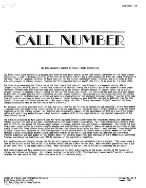 Primary view of object titled 'Call Number, Volume 45, Number 3, Summer 1985'.