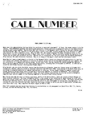 Primary view of object titled 'Call Number, Volume 45, Number 2, Spring 1985'.