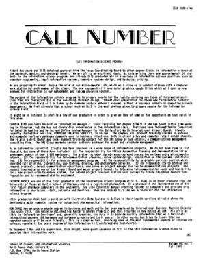 Call Number, Volume 46, Number 1, Fall 1985
