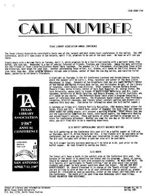 Primary view of object titled 'Call Number, Volume 47, Number 2, Spring 1987'.