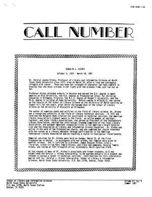 Call Number, Volume 47, Number 3, Summer 1987