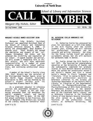 Primary view of object titled 'Call Number, Volume 48, Numbers 2 & 3, Spring/Summer 1988'.
