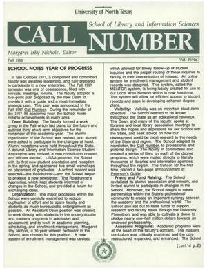 Primary view of object titled 'Call Number, Volume 49, Number 1, Fall 1988'.