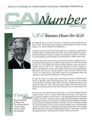 Call Number, Volume 54, Number 3, Summer 1996