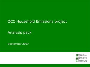 OCC Household Emissions project: Analysis pack